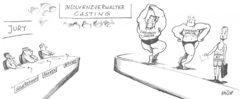 Karikatur - Der vorläufige Gläubigerausschuss