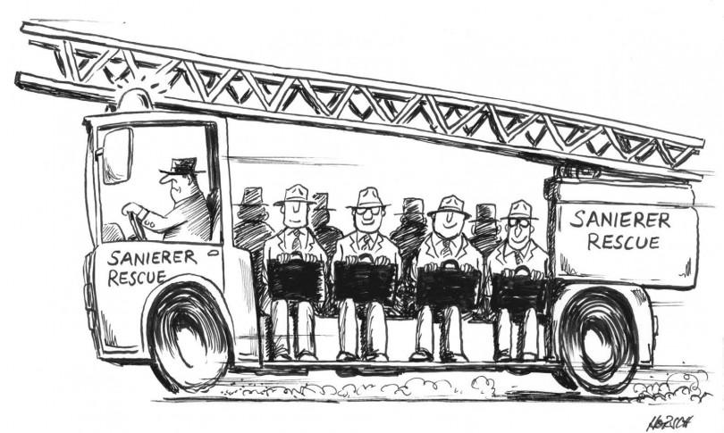 Karikatur - Sanierer Rescue